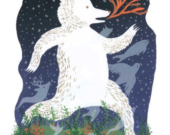 Pacific Northwest Kermode Bear and Coral Screenprint - Limited Edition