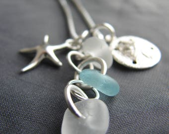 Aqua Sea Glass Necklace /  beach wedding jewelry / ocean theme cluster necklace /  aqua beach glass / starfish and sand dollar necklace