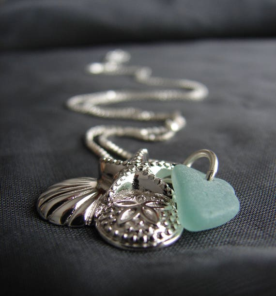 Shell Gatherer sea glass necklace in teal