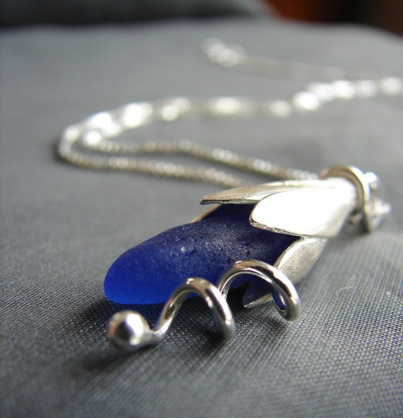 Sea Lily beach glass necklace in cobalt blue