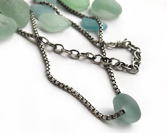 Aqua Seaglass Frosty Authentic Beach Glass Necklace Sterling Silver Rounded Sterling Silver 2mm Box Chain 20 Inch