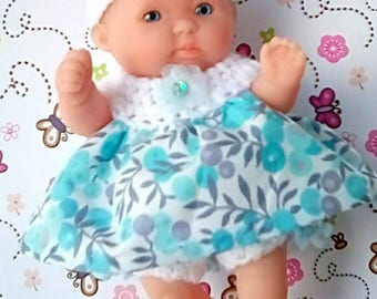 Knitted Dolls Clothes 5 inch Chubby Berenguer, Summer Dress, frilled panties, headband with flower - pretty summer outfit for 5 inch doll