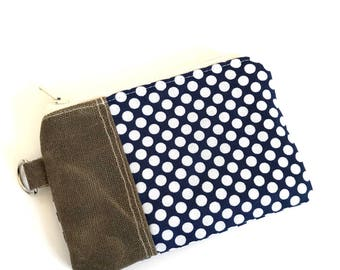 Change Purse No. 1 in Navy Dots and Waxed Canvas