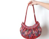 Floral red handbag, Red fabric and leather purse, Vintage fabric, Pleated hand bag, MALAM