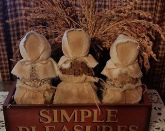 Set Of 3 Primitive Style Simple Prairie Dolls | Bowl Fillers | Shelf Tucks