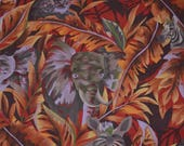 Vintage African safari animals fabric orange tropical Hoffman Fabrics African animals jungle animals elephant fabric zebra print jungle