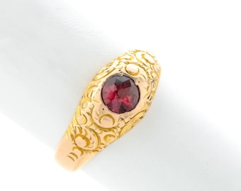 Antique Gold Garnet Ring, Lovely Detail Work and Old Cut Stone in 14K Gold, Substantial, Victorian Period 1800's Solitaire Ring