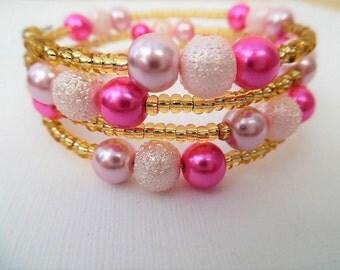 Pink Bracelet, Wrap Bracelet, One Size Bracelet, Plus Size Bracelet, Pearl Bracelet, Wedding Jewelry, Bridesmaids Gift, Bridesmaids Jewelry