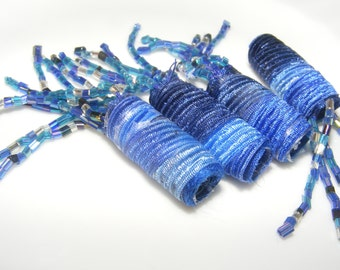 Have fun and always wear unique beads. Fiber Beads, Textile Beads, beaded beads, dreadlock sleeve, dread loc decorations, lightweight