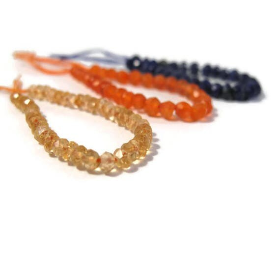 Natural Gemstone Beads, One 3 Inch Strand of Faceted Lapis, Citrine or Carnelian Rondelles, You Pick! 3mm - 4mm, Jewelry Supplies
