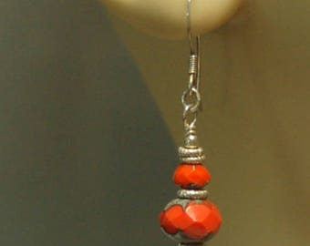 Bright red Picasso Czech glass and Bali sterling silver beaded pierced earrings