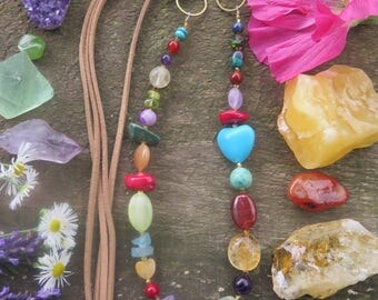 Rainbow Peace Necklace - Vegan Suede Faux - Chunky Colorful Hippy Jewelry Festival Fashion - Funky Boho Gypsy Crystal Gemstone Gift for Her
