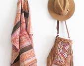 Boho Gift Girlfriend, Leather Fringe Bag. Boho Fringe Bag. Leather Crossbody. Boho Festival Bag. Boho Chic Bag. Moroccan Bag. Kilim Bag.