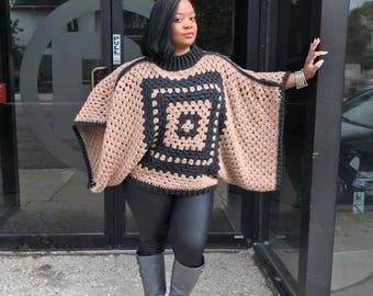 Grey and Beige Poncho/ Crochet Poncho/ Crochet Granny Square Poncho/ Collar Poncho/ Fall Poncho/ Bohemian Poncho