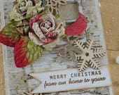 MERRY CHRISTMAS - from our home to yours - hanging wood collage - NO076