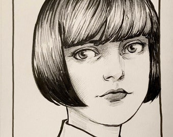 "Original Ink Drawing ""Betsy"" by Amy Abshier"