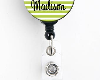 Retractable ID Badge Holder -Striped Floral Blue or Green Personalized Name Badge Reel, Steth Tag, Lanyard, Carabiner