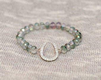 Horseshoe bracelet, horseshoe charm, horseshoe jewelry, good luck bracelet, lucky charm, good luck charm, gift for her, bridal jewelry