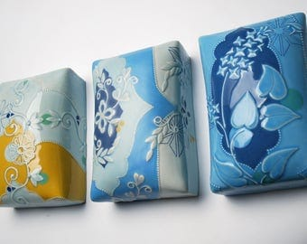Wall pillow tile in Frost & Blues w. Scrolling Floral plus Orange Dots and Navy detail,  Victorian modern Home decor art