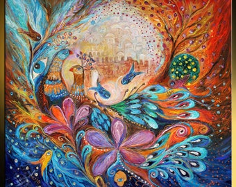 Original canvas painting birds pomegranates Hebrew words and Hamsa Contemporary naive Jewish art holy place from Israel Walls of Safed