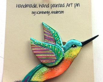 Hummingbird Art pin brooch shrink plastic