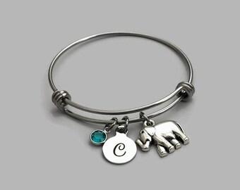 Elephant Charm Bracelet, Elephant Bracelet, Elephant Bangle, Elephant Jewelry, Elephant Lover, Initial Charm, Birthstone Charm, Personalized