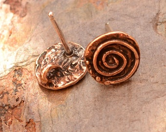 Copper Bronze Spiral Earring Posts with Sterling Post, AD-622
