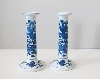 Porcelain Candle Holders, Blue White China, Japanese Ceramic Taper Candlesticks, Andrea by Sadek, Chinoiserie Blue Dragons, Asian Decor