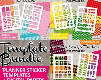 Planner sticker download blank templates bundle, commercial use / DIY printable erin condren life planner stickers / full box, ribbons