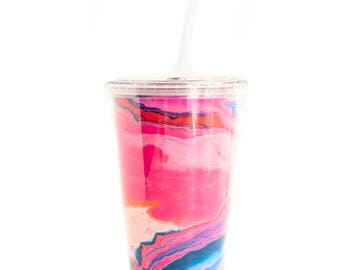 Pink and Navy Marble Tumbler Cup with Straw - exclusive marble pattern