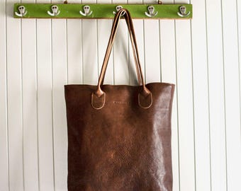 The Essential Tote in Chestnut Brown/ Leather Tote Bag / Leather Bag / Brown Tote Bag / Brown Leather Tote Bag /Leather Handbag