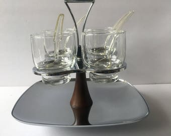 Chrome Serving Tray Condiment Relish Chutney Server Mid Century Decorating and Entertaining Glass Serving Cups with Lazy Susan Tray
