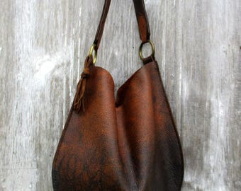 Rustic Leather Distressed Bison Leather Bag with Equestrian Shoulder Strap by Stacy Leigh