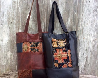 Tall Skinny Leather Patchwork Carpetbag Tote in Black - Navy - Olive and  Celery by Stacy Leigh