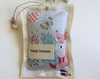 fabric scrap happy camper fox butterfly lavender sachet,  dried lavender word sachet, beaded whimsical fox boho modern urban sachet, No.95