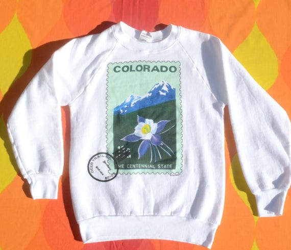 vintage 80s sweatshirt COLORADO deer trail postage stamp raglan crewneck sweater Small XS white