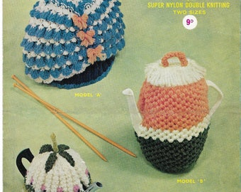 Vintage Knitting Pattern  1960's , Tea Cosies and Coffee Cosie  including a Crinoline Lady