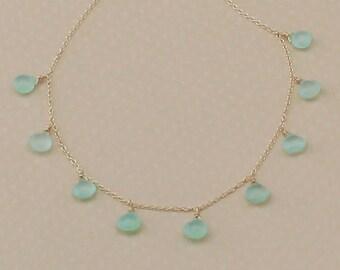 Blue Chalcedony Necklace, Sterling Silver, Aqua Blue Teardrop, Sea Foam Green, Beach Wedding Jewelry