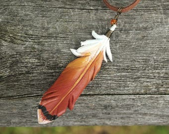 Red Tailed Hawk 3 Inch Tail Feather Pendant - Leather Bird Feather Necklace