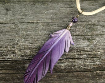 Simple Purple Feather - Leather Fantasy Bird Feather Pendant - 3 inches