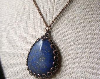 Large Lapis Pendant, Wire Wrapped Lapis Lazuli Necklace Oxidized Copper Pendant Gemstone Briolette Royal Blue Gemstone Wirework Bezel Copper