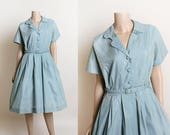 Vintage 1950s Dress - Iridescent Sky Blue Polished Cotton Shirtwaist Day Dress - Powder Blue 60s Button Up - Anne Carter - Large