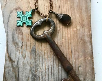 Vintage Key Necklace With Smokey Quartz and Patina Brass Cross Charm Key Jewelry Mothers Day  Gifts Under 50 OOAK