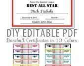 Editable PDF Sports Team Baseball Certificate Award Template in 10 colors Letter Size Instant Download