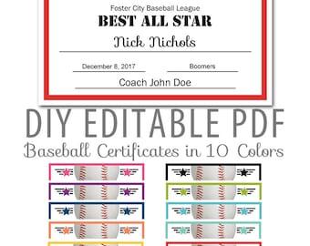 Baseball award etsy for Baseball certificates templates free