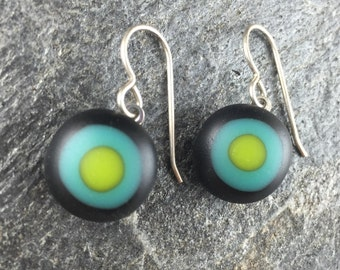 Handmade Fused Glass Earrings. Small Bullseye Matte Glass Earrings. Handcut and designed in Texas. Simple Earrings. Everyday Jewelry.