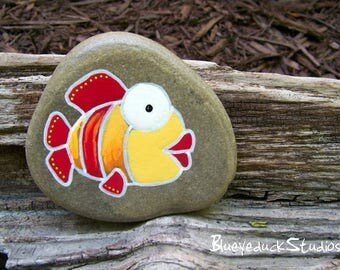 Redhead, Ginger, Goldfish, Original hand painted Beach Rock, Lake Erie, handpainted, earth art, reclaimed, inked, stone, Fish, Folk Art