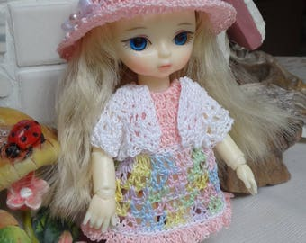 Crochet clothes outfit Jun Planning Ai  Hujoo BJD 12cm 4.7  5 inches doll Wide Brim Hat Dress Sweater Pink Blue Yellow Green Pastel