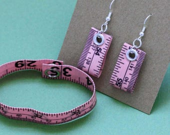 Tape Measure Jewelry Set in Light Pink - Earrings and Bracelet - Statement Jewelry created with Upcycled Measuring Tape