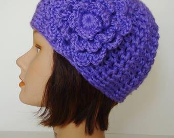 Purple Textured Morgan Beanie with Flower, Soft Acrylic